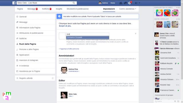 Come modificare i ruoli della pagina di Facebook